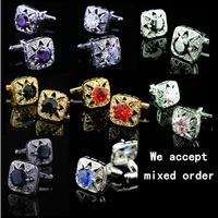 Multicolor big gem  Men's French shirt cufflinks crystal cuff  links free shiping