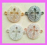 Free Ship 40pcs/lot crystal rhinestone cross charm ,round hollow cross bracelet connector