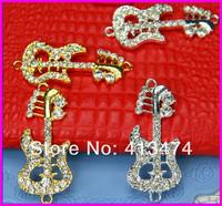 free ship! 20pcs/lot 2 colors fashion rhinestone bracelet connector ballon guitar bracelet Charm connector