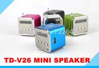 TD-V26 Portable Mini Digital Speaker soundbox boombox for MP3 MP4 PC,Support FM Radio, USB, TF/SD Card Free Shipping