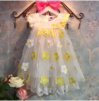 Wholesale 2014 New (5 Size/Lot)  Childrens Kids Girls Summer Fashion Leisure Colored Flowers Dress