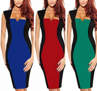 [R-105]  New Womens V-neck Optical Illusion Color block Cap Sleeve Patchwork Dress Party Pencil Dress
