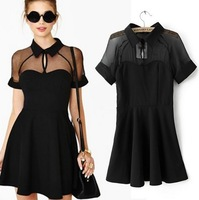 [B-219] 2014 summer new women's transparency chiffon patchwork dress vintage Peter Pan collar dress free shipping !