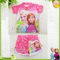 Girl Swimwear suit Frozen Elsa Anna Princess Print sets child children Swimsuit Girls Rash Guard Kids Bathsuit Surf Clothing set