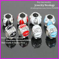 Free Ship! 50pcs Crystal rhinestone mix color Enamel Silver Metal alloy European Big Hole Beads For Charms jewelry bracelet DIY