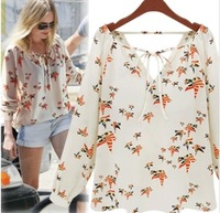 [R-33] 2014 New Fashion Ladies' Elegant Floral Print Blouse V-neck Casual Vintage Shirt Brand Designer Tops Free Shipping