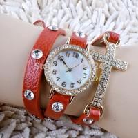 100pcs/lot Hot! New Listing Korean Fashion Simple Cross Inlaid Rhinestones Long Leather Quartz Watches Women dress watch