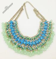 2014 New Z brand fashion Bohemia necklaces & pendants costume tassel choker Necklace statement jewelry rhinestone necklace women