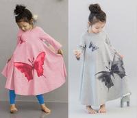 Autumn children clothing dress for girl Full butterfly print girl dress baby dress 100-140