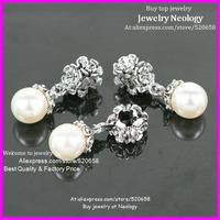 New arrival ! Wholesale 50pcs/lot Clear Rhinestone white pearl pendant Alloy Spacer Big Hole Charm Beads Fit European Bracelet