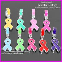 Wholesale 30pcs Mix color enamel ribbon awareness big hole charm pendant Fit European jewelry,DIY jewelry accessories Free ship