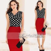 New 2014 summer women summer dresses Dot Print Dress Brand stitching knit stitching casual summer chiffon dress S-2xl