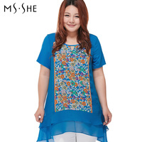 Msshe Rushed Special Offer Free shipping Appliques Long Plus Size Clothing 2014 Shirt Slim Medium-long Mm Short-sleeve T-shirt