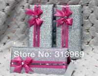 50pcs/lot Wedding Cards With Bag Pack Wedding Invitation Card With Ribbon Elegant invitations card
