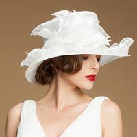 Smart Wave organza sinamay hats women evening church ladies wedding wide brim hat