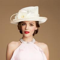 British romantic flower ladies church hats brand new ladies chapeau fedora sinamay hats sun summer wedding evening party hat