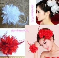 Wedding hair accessories bridal feather flower hairpin mesh head flower for children 016