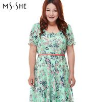 Msshe Real New Freeshipping Empire Knee-length Pleated Short Plus Size Clothing 2014 One-piece Dress Mm Short-sleeve Slim Medium