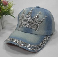 The new washed denim baseball caps studded crown fashion tide female leisure outdoor sun hat