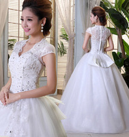 Free shipping  Wholesale  2014 NEW! A word shoulder deep v-neck princess bride's wedding dress