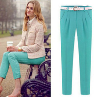 2014 Summer New Arrival Ladies Casual Capris/Solid Color Capri Pants For Women With Sashes