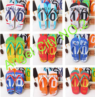 World Cup /slippers/ flip flops/Beach slippers/sandals/ bathroom slippers/ 9 countries ,SIZE 3