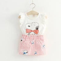 2014 Summer New Girl's Dresses Cartoon Snoopy Dress White Pink Striped Dress for Children Baby Kids 2T-10