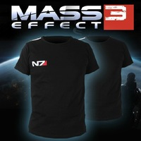 New Free Shipping Mass Effect 3 N7 100% Cotton Cosplay Short Sleeve Costume T-Shirt