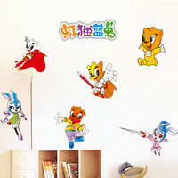 Nine nine animation cartoon children room wall Red cat waterproof decorative laminated 90991 rainbow blue cat rabbit