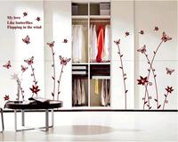 Bedroom, sitting room sofa TV setting wall stickers stickers waist line flowers love wallpaper