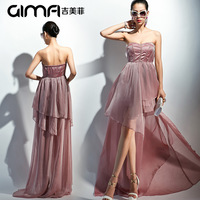 2014 summer new fashion high quality women sexy Strapless bridesmaid dress irregular