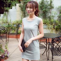 2014 summer T short spaghetti strap design one-piece dress female 100% cotton sleeveless elegant slim hip female  Free shipping