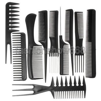 10 шт./компл. профессиональный салон комбс комплект черный пластик парикмахерская ...