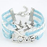 DIY letters bracelet   fashion wild birds metal love 8 letters Bracelet wholesale leather Free shipping