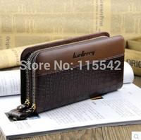 HotSale!Crocodile pattern mens wallets double zipper design long wallet mobile phone male bag cowhide clutch man bag