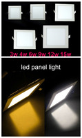 Retail&Wholesale 3W/4W/6W/9W/12W/15W ultrathin led ceiling light square white/warm soft white  panel lights free shipping