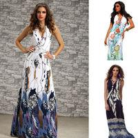 2014  Spring V Neck Back Open Long Beach Dress ML18042 New Fashion Women Casual Sleeveless Summer Dress Long Print Dresses