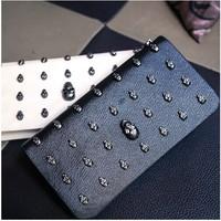 Women Handbags Real Bolsas Femininas 2014 New Arrival Rivet Clutch Long Design Wallet Skull Horizontal Day Bag Small for Women