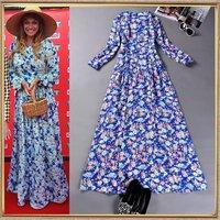 Hot Sale 2014 summer autumn women's fashion sweet elegant expansion bottom print one-piece dress long-sleeve casual full dress