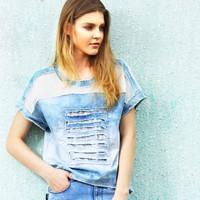 Hot Sale 2014 summer Top Quality Designer Fashion ladies europe street brand denim t-shirt short design  hole tops