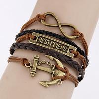 SL297DIY charm bracelets bracelet retro romantic password anchor alphabetical cross- licensing of five braided bracelet