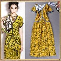 Hot Sale Summer women's 2014 fashion star style sexy V-neck color block print slim one-piece dress silk full dress