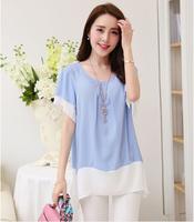 Summer Elegant Medium Long Women Loose Blouse Fashion Chiffon Shirt Tops High Quality European Style Summer Clothing Plus Size