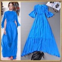Free shipping Top Quality 2014 summer runway ladies fashion brief Silk Maxi Dress Casual Designer beach Holiday Long Dress