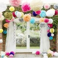 20pieces/lot  15cm(6 inch),Pom poms, Tissue Paper Flower Ball Craft Poms Paper Flower,20 colors,Wedding Party Decoration