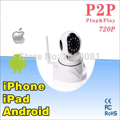 Wireless IP Camera Wifi 720P MegaPixel with Pan/Tilt SD Card Slot and IR Cut 720p(1280x720)+ Free Shipping(China (Mainland))