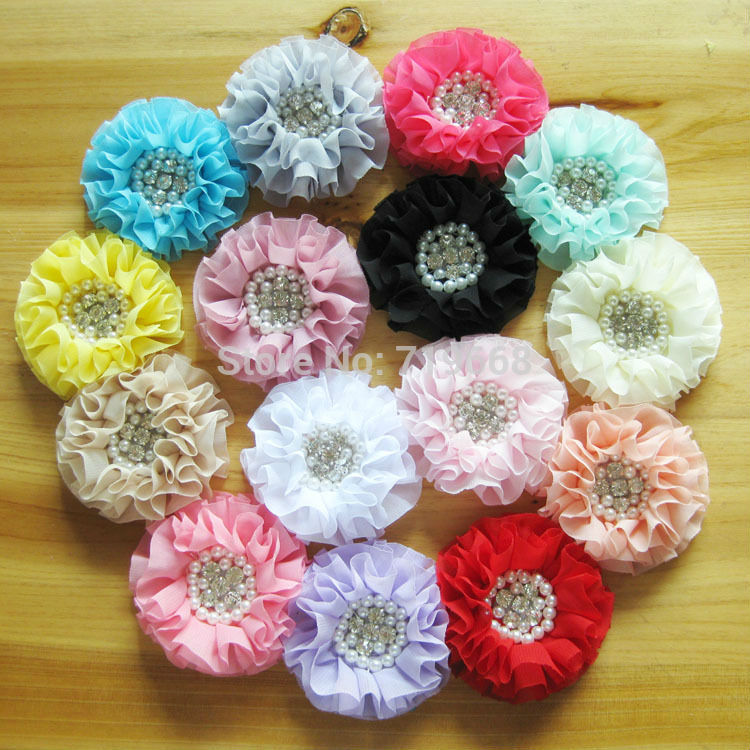 Hot Sale! 30pcs/lot 15colors Satin chiffon flower with rhinestone pearl center for baby girls children headbands hair ornaments(China (Mainland))