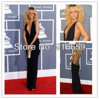 F522 Custom Made Backless Sleeveless sheath Sexy deep v neck Rihanna Celebrity Red Carpet Dress