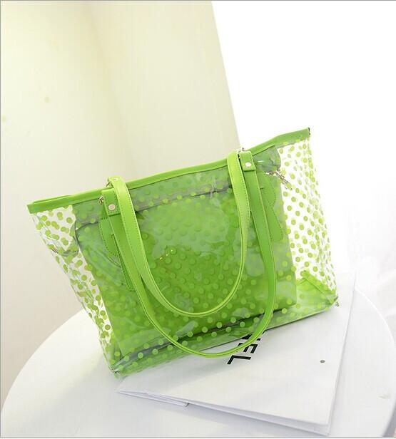 Transparent dots bag Beach waterproof bag Crystal jelly colors women's handbag Free shipping(China (Mainland))