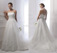 Strapless A Line Tulle Wedding Dress Lace Appliques Romantic Wedding Bridal Gown